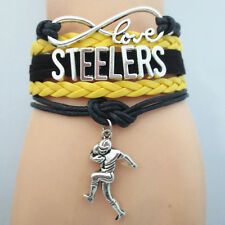 Rugby Player Infinity Love STEELERS American Football Charms Leather Bracelet