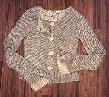 Anthropologie Moth Tan Cardigan Sweater Lace Embellished Buttons Small Bow Cuff