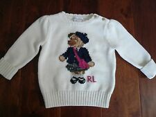 NWT $85 RALPH LAUREN BEAR WHITE COTTON SWEATER SZ 9M