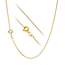 "18K Yellow Gold over Sterling Silver 1mm Thin Box Chain Necklace - 22"" - 55cm"