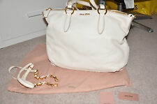 MIU MIU (Prada) large ladies white leather handbag AUTHENTIC £1200 (used twice)