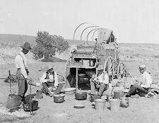 "1900 Photo, Chuck Wagon, Old West, Cowboys Cooking, BBQ antique, 20""x16 Print"