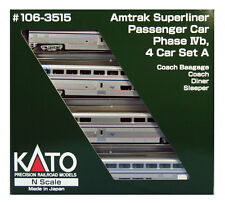 KATO 1063515 N SCALE Amtrak Superliner A Phase IVb 4 CAR SET 106-3515 - NEW