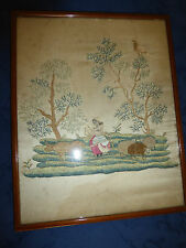 18th C. embroidery of shepardess spinning,with sheep and cow, stump, raised work