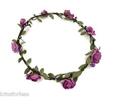 Purple Boho Floral Flower Festival Headband Hair Garland Wedding Bridesmaid