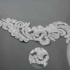 1 METRE WHITE BRIDAL LACE 80mm BEADED TRIMMING WEDDING DRESS VEIL TRIM HL2106
