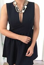 AKIRA CHICAGO RED LABEL WOMENS DRESS LINED NAVY BLUE WORK PARTY SZ L