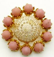 MITCHEL MAER FOR CHRISTIAN DIOR VINTAGE GILT GOLD PINK FILIGREE  BROOCH 1950s
