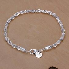 Fashion 925 sterling Silver plated 4MM rope chain Party Beautiful bracelet