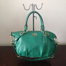 COACH MADISON SOPHIA LEATHER SATCHEL CONVERTIBLE SHOULDER BAG JADE GREEN 15960