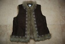 Dark Brown Fabric & Faux Fur Lined ANN TAYLOR LOFT Embroidered Vest Large