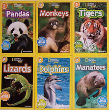 NATIONAL GEOGRAPHIC KIDS READER L2 6Bks Monkeys,Pandas,Dolphins,Manatees,Tiger++