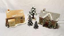 LOT OF 2 CHRISTMAS HOUSE FIGURINES CURRIER & IVES LEMAX WITH TREE ACCESSORIES