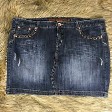 Freestyle Revolution Sz 22 Studded Blue Denim Jean Mini Skirt