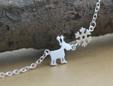 925 Sterling Silver Necklace with Pendant Snow and Elk Deer