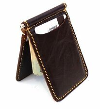 Men's Natural Leather Magnetic Card Case Wallet 4 Slots 2 Slip Pockets Slim