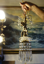 1of2  Cherub hanging Lamp Chandelier metal gold tone bubble glass Clear prisms