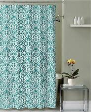 Teal Grey White Floral Damask Fabric Shower Curtain with hooks