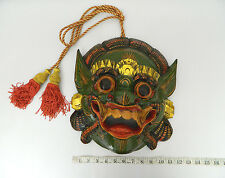 Rare Beautiful Barang Wood Artisan Crafted Painted Mask Wall Art Hand Carved #2