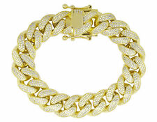 Men's 14k Yellow Gold Over D/VSS1 Diamonds Solid Cuban Link Bracelet 13mm 8""