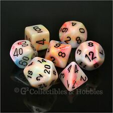 NEW 7pc Festive Circus RPG Dice in Box D&D Polyhedral Gaming Set Chessex D20 +