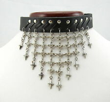 TEN101 Dangle Star Fall Black Leather Choker Necklace