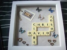"""8x8"""" Personalised Scrabble Word Art Picture Frame - Choose Own Names (LOT2)"""
