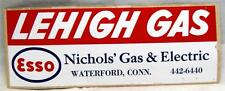 ESSO OIL LEHIGH GAS WATERFORD CONNECTICUT VINTAGE ADVERTISING STICKER LABEL