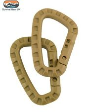 x2 TACTICAL CARABINA ABS RUCKSACK MOLLE UTILITY CLIP BRITISH ARMY HIKING COYOTE