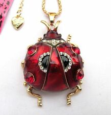 Betsey Johnson brilliant crystal&red enamel Big ladybug pendant Necklace#329L
