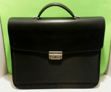MAZZINI Firenze Italy BLACK CANVAS/Leather Laptop/BRIEFCASE BAG