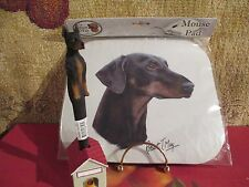 Doberman Uncropped ~ by Robert May ~ Mouse Pad & Pen Set