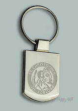 Personalised Engraved ST CHRISTOPHER Motorists Prayer or your text Keyring Boxed