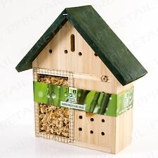 NATURAL WOODEN INSECT & BEE SHELTER HOUSE Bug Hibernate Station Hotel B&B Garden