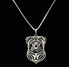 Pug Silver Charm Pendant Necklace, Dog Lover, Friend Gift, Gifts for Her