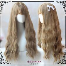 Japanese Harajuku Sweet Lolita Long Flaxen Curly Cosplay Daily Princess Cute Wig