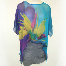 NEW NWT Cocoon House Teal Bird of Paradise Sheer 100% Silk Pointed Top Large, XL