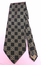 Kurt Geiger pure silk black tie with square patterning in light golden brown