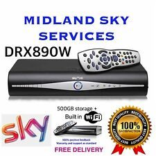 SKY+ HD BOX 500gb WIFI SLIM LINE RECIEVER/RECORDER WITH REMOTE AND POWER CABLE