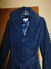 A-Line Coat BRADLEY BAYOU, Beautiful NAVY Blue Suede, Generous Size LARGE Fitted