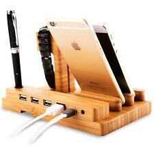 Real Wood Bamboo Universal Charging Stand Holder For Apple Watch iphone Samsung