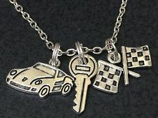 "Race Car Checkered Flag & Key Mix Charm Tibetan Silver 18"" Necklace BIN"