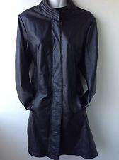 FOR WOMEN real leather ladies black fitted coat size 14