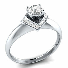 1.10ct Delicated Diamond Solitaire Engagement Ring  14K White Gold Over Sizable