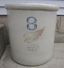 "Vintage Antique 8 Gallon Red Wing Stonware Crock w/ Ski Oval, Big 6"" Wing"