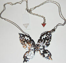 NWT Guess Silver Metal Filigree Rhinestones Butterfly Necklace, Exclusive Line
