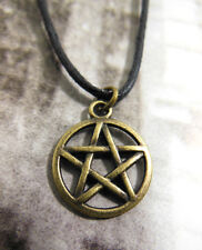 A New Wax Cord Bronze Tone Pentacle Pentagram Star Charm Necklace, Surf, Pagan