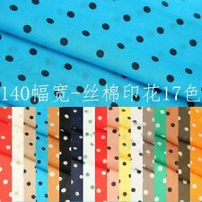silk cotton Blue Black / Brown Black Etc Polka Dot Fabric By The Meter