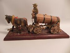ANTIQUE HAND CARVED MOUNTED HORSE DRAWN WAGON Carriage with MAN AND WOMAN OX