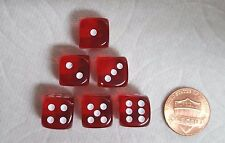 DICE 12mm CHESSEX TL RED w/WHITE PIPS - SET OF SIX! SMALL SIZE, RUBY RED!